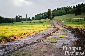 Slick muddy mountain dirt road