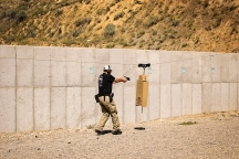 A side view of the PT Runner in use at Action Target's 2014 Law Enforcement Training Camp